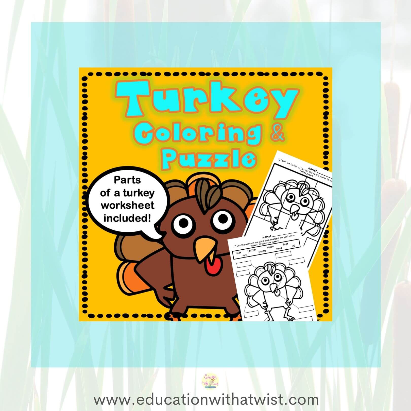 Turkey Coloring Puzzle And Parts Of A Turkey Worksheet Educationwithatwist